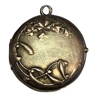 Antique Art Nouveau French Silver 800-900 locket mistletoe and ivy leaves