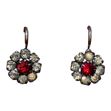 Antique Victorian silver with gold paste diamonds ruby dormeuses earrings