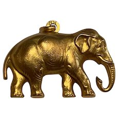 Antique  French Art Nouveau  Elephant Pendant Charm Gold Filled FIX