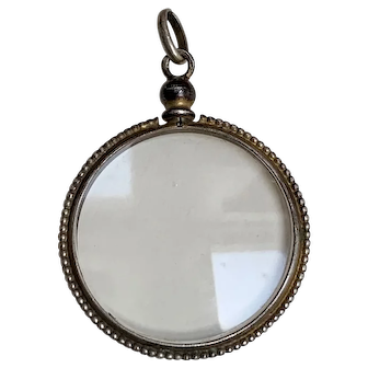 Antique French silver double sided locket silver pearl