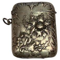 Antique continental art nouveau silver match Safe Box Vesta flowers for a chatelaine