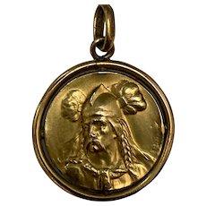 Antique French art nouveau gold filled Pendant ORIA