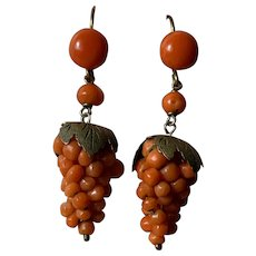 Victorian Salmon Coral  grapes gold filled earrings