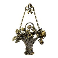 Antique Victorian Gold Filled basket with flowers seed pearls pendant