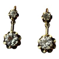 Antique French gold 18 k paste diamond drop Earrings
