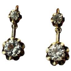 Antique French gold 18 k paste diamond drop Earrings