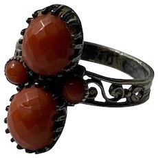 French antique Toi et Moi  faceted red coral 800-900 silver ring