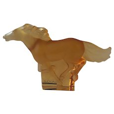 Lalique Crystal Kazak Galloping Horse, Gold luster