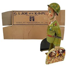 Vintage Litho Steel wind up GI Joe with K9 Pups with Box