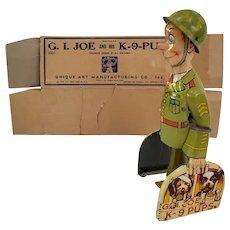Vintage Litho Steel wind up GI Joe with K9 Pups with Box