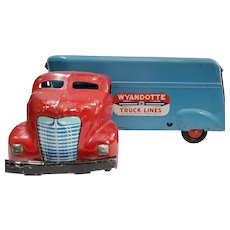 Vintage Wyandotte Truck Lines Moving Freight Van Semi-Tractor