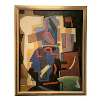 Mid Century Modern Abstract Oil on canvas by Mario de Ferrante