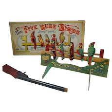 Vintage 1930's The Five Wise Birds by Parker Bros. Board Game