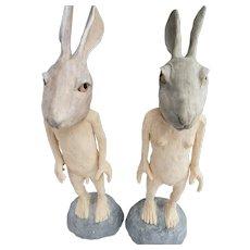 David Aguirre Signature ceramic rabbit figures