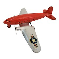 Vintage 1940 Marx twin engine toy US Air Force airplane
