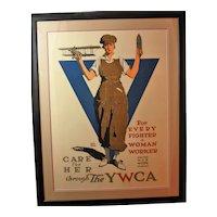 Vintage 1917 WWI War propaganda YWCA Poster by Adolph Treidler