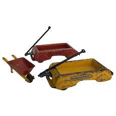 Vintage Marx Pressed Steels Wagons & Wheel Barrel (Set of 3)