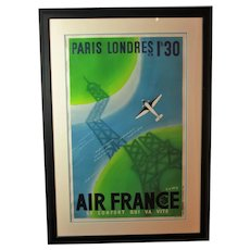 Vintage 1939 Air France Poster by Roger de Valerio in Art Deco Style