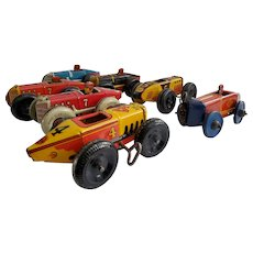 Vintage set of 7 original  Marx wind-up midget Indy race cars