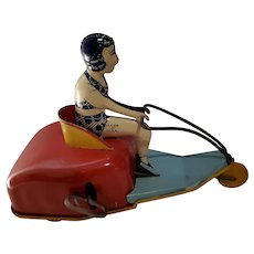 1929 Bathing Beauty Scooter Bike Tin Wind-up toy