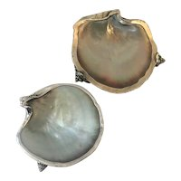 A Pair of Antique American Silver & Shell Bowls by Carl Schon, Baltimore. ca 1910's