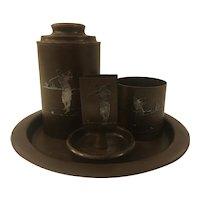 Heintz Bronze & Sterling Smoking Set