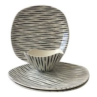 "Vintage ""Zambesi"" Fashion Shape Staffordshire Dinnerware, ca 1950's"