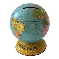 Vintage J Chein Co USA World Globe Bank, Pre 1935