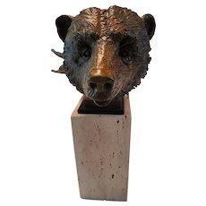 """Bear"" Bronze Cast Sculpture by Theodore Gall"