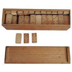Vintage Embossed  Wood 55 piece Dominoes Set