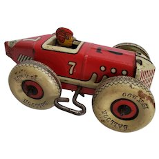Vintage original Marx #7 Wind-up Tin Racer w/White Balloon Tires