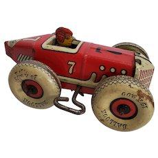 Vintage original Marx #7 Wind-up Tin Racer w/White Balloon Tires