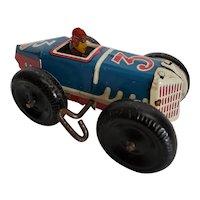 Vintage original Marx #3 Wind-up Tin Racer w/White Balloon Tires