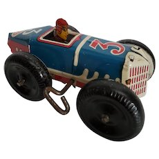 Vintage original Marx #3 Wind-up Tin Racer w/White Balloon Tires