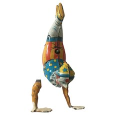 1940's Kohler German Tin Handstand Clown Wind Up Toy Clockwork Circus Clown