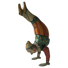 Vintage Kohler German Tin Handstand Clown Wind Up Toy Clockwork Circus Clown
