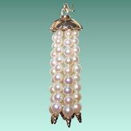 Vintage 14K Gold Pearls Tassel Earrings