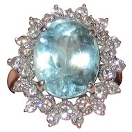 Estate 14K White Gold Aquamarine Diamonds Ring