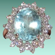 Estate 14K White Gold Aquamarine Diamonds Ring