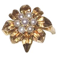 Estate 1960's 14K Gold Leaves Cocktail Ring Cultured Pearls
