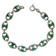 Vintage Sterling Italy Mariner Link Enamel Bracelet