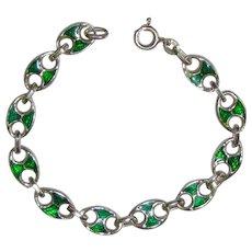 Vintage Sterling Italy Mariner Ling Enamel Bracelet