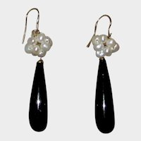 Onyx Cultured Pearl Cluster Drop Earrings 14K Gold Wires