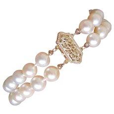Estate Two Row Cultured Pearls Bracelet 14K Filigree Clasp