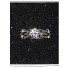 Estate 14K White Gold Chunky Ring Setting with CZ