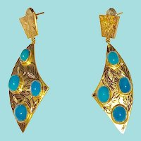 14K Gold Persian Turquoise Large Earrings Scimitar