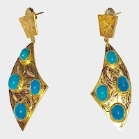 14K Gold Persian Turquoise Large Earrings Scimitar