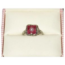 Art Deco 14K Filigree Pink Stone Ring