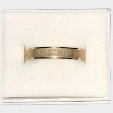 18K Yellow Gold Wedding Band Ribbed Design  Size 9 1/4