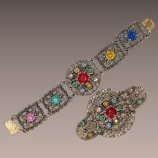 Vintage Large Brooch with Matching Bracelet Circa 1930s
